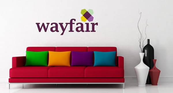 a sofa with wayfair logo