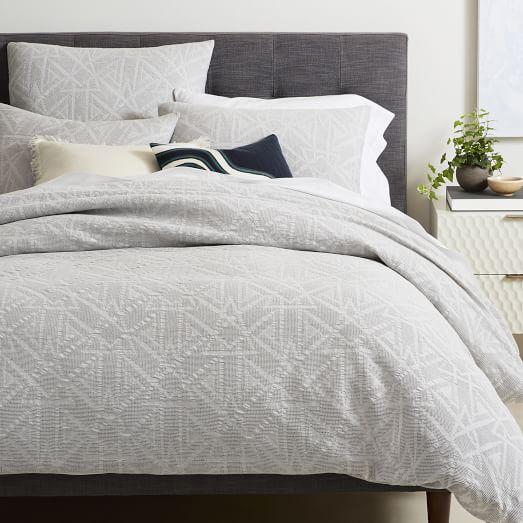 Organic Geo Duvet Cover on bed