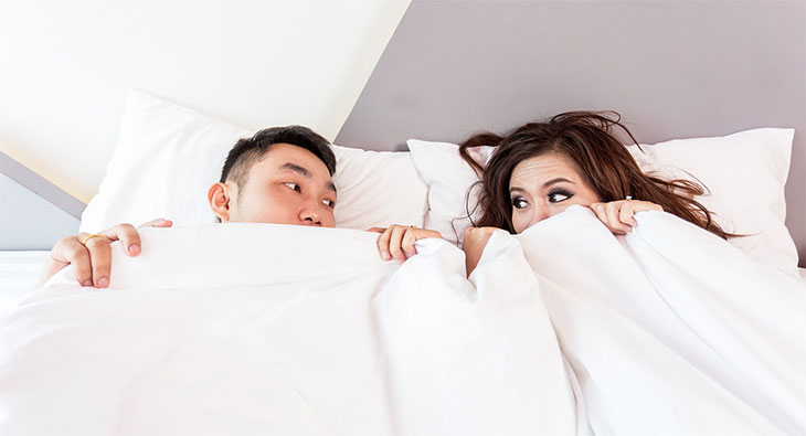 Couple is mesmerized by the soft comforter
