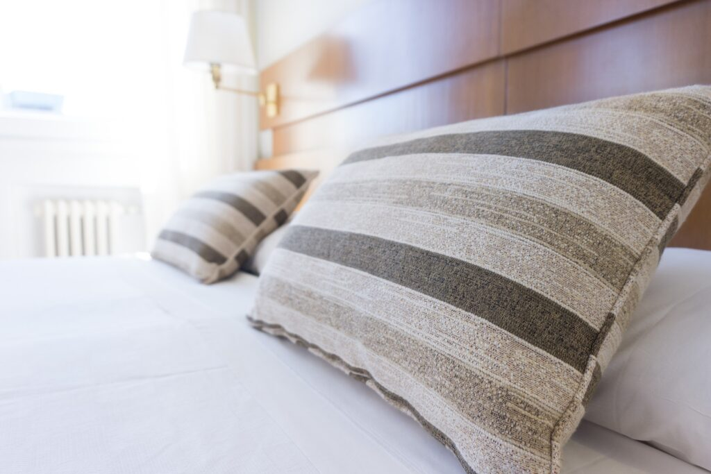 Pillows in thick heavy pillowcases